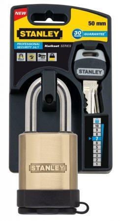 Stanley Tömör sárgaréz biztonsági lakat 50mm (S742-002)