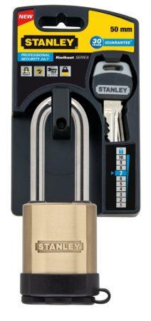Stanley Tömör sárgaréz biztonsági lakat hosszított kengyellel 50mm (S742-003)
