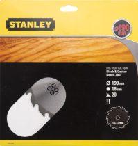 Stanley Körfűrészlap TCT 190×16mm 20T