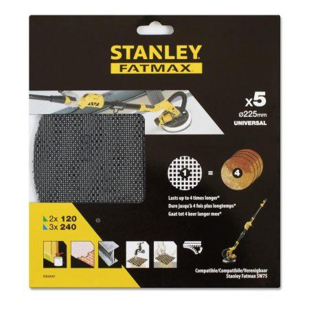 Stanley Quick-Fit Csiszolóháló SZETT 2x120G/3x240Gg Kör 225mm (STA39297)